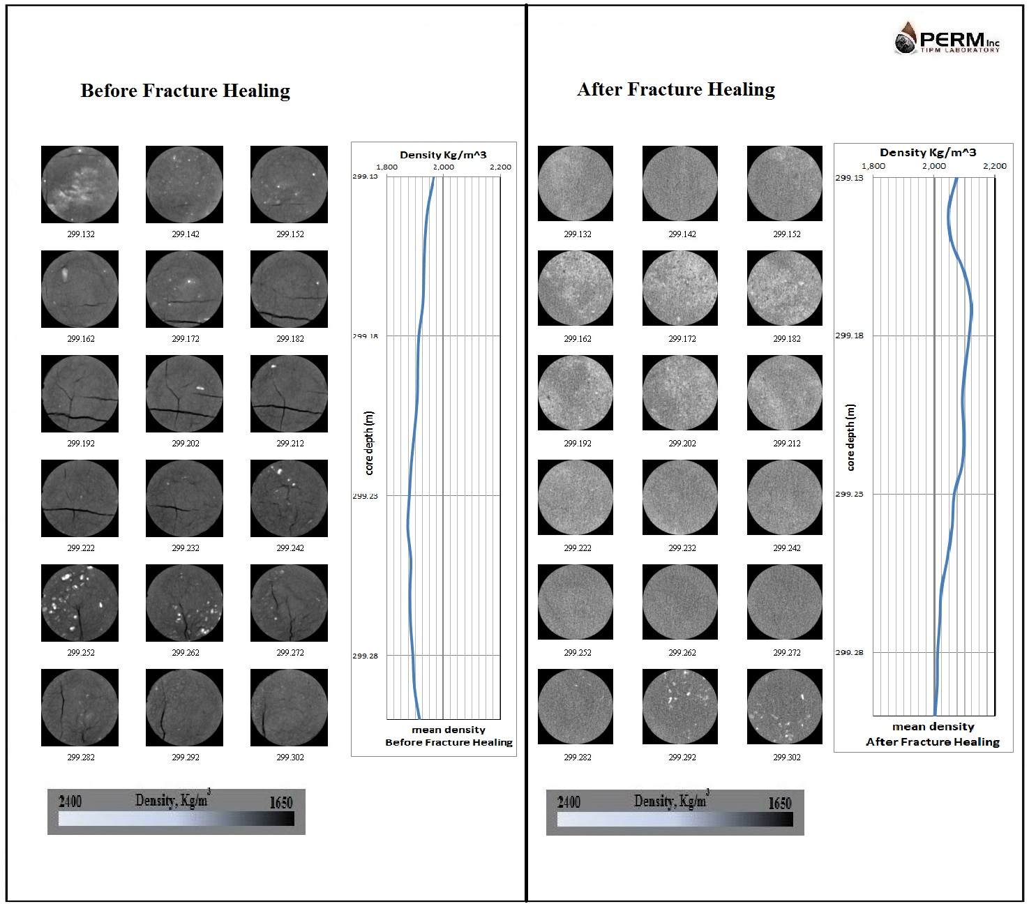 CT Scan of Unconsolidated Core in Coreholder, Before and After Fracture Healing