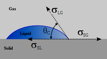 Equilibrium of Forces at a Liquid-Gas-Solid Interface